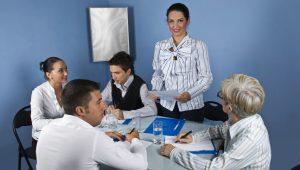 Business woman speech at meeting